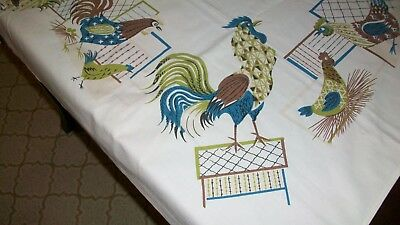 Vintage Retro Tablecloth Topper Roosters Hens Mid Century Quilt Craft Fabric