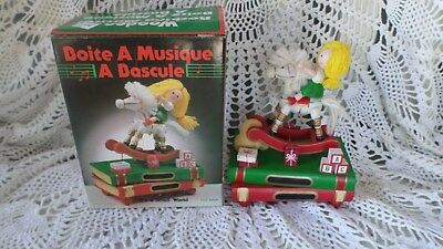 Vtg Wooden Hand Painted Musical Rocking Horse w Girl Music Box Not Working