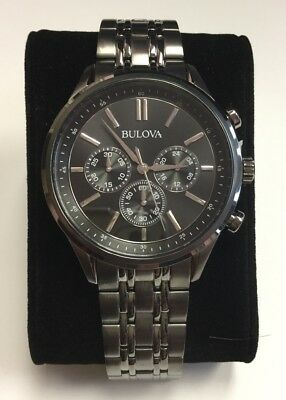 BULOVA Men's Black Tone Stainless Steel Black Dial Chronograph WATCH 98A217