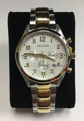 BULOVA Men's Two-Tone Stainless Steel White Dial Chronograph WATCH 98B330