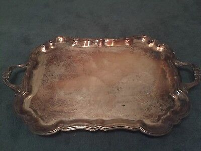 F.B. Rogers Large Silver Plated Footed Tray Platter