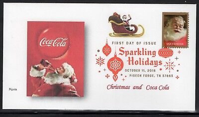 SPARKLING HOLIDAYS & COKE - FIRST DAY COVER of 2018 - United States