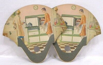 Vintage LOT Two Advertising Hand Fans Women Gas Stove 1930s Kitchen Graniteware
