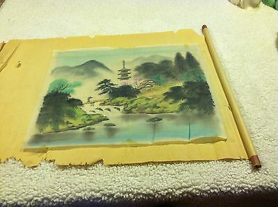 Nice Preserved Oriental Silkscreening Countryside Fisherman With Original Scroll