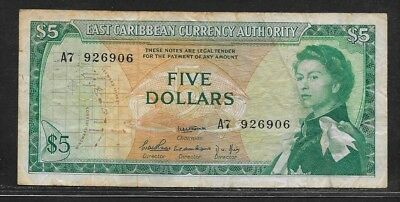 EAST CARIBBEAN STATES 5 dollars ND (1965) P14a AVF