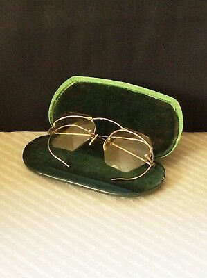 Vintage SHURON wire rim GLASSES w CASE 1/10th 12K Gold Filled DECORATED FRAME
