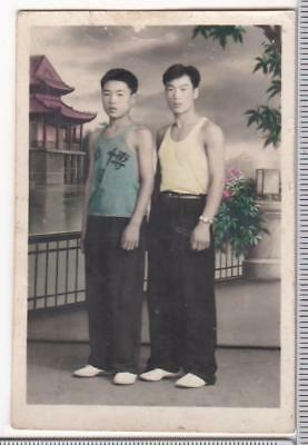 Chinese Young Men Hand Colored Studio Photo Painted Backdrop 1950s-60s China