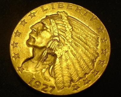1927 $2 1/2 Indian Head Gold Coin Quarter Eagle BU MS!
