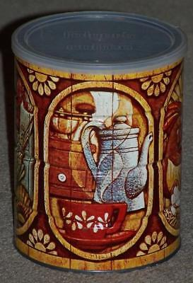 Vintage Decorative Folger's 2 Lb Coffee Tin, Chickens, Lobster, Fish, Fruit
