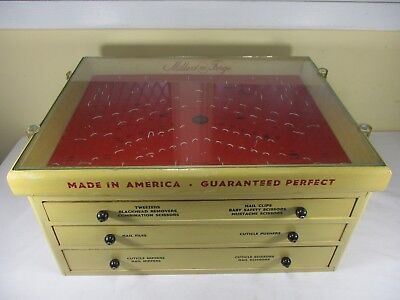 Vtg Millers Forge Drug Store Counter top Glass Display Case w/ Drawers 1940/50's