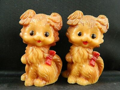 VINTAGE Hong Kong hard plastic Small brown Puppy Dog Salt & Pepper Shakers