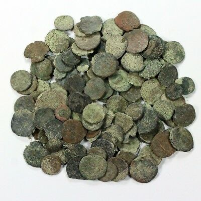 Uncleaned 100+ Lot of Ancient Roman and Greek Coins - Exact Lot Shown 3411