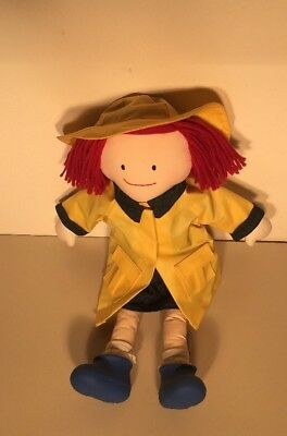 """Madeline 18"""" Soft Doll by Eden 1990 with Yellow Raincoat, Rainhat and Rainboots"""