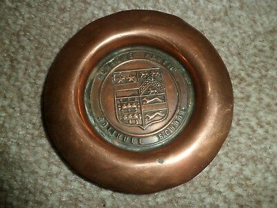 Antique copper pin tray - Solihull School coat of arms - Perseve Rantia
