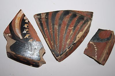 3 ANCIENT GREEK POTTERY RED FIGURE LEKANNIS SHARDS 4th CENTURY BC