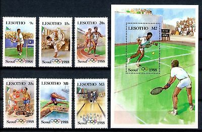 Lesotho MiNr. 622-27 + Block 39 postfrisch/ MNH Olympia 1988 Seoul (Oly832