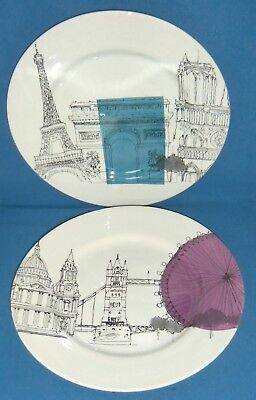 Poole Pottery Cities in Sketch London & Paris Large Plates