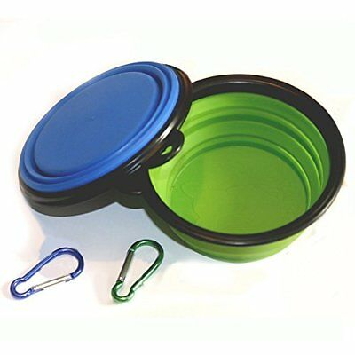 COMSUN 2-Pack Collapsible Dog Bowl, Food Grade Silicone BPA Free, Foldable Cup