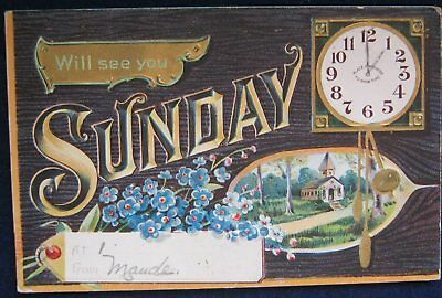 Will See You Sunday Sunday School Postcard 1910 Embossed