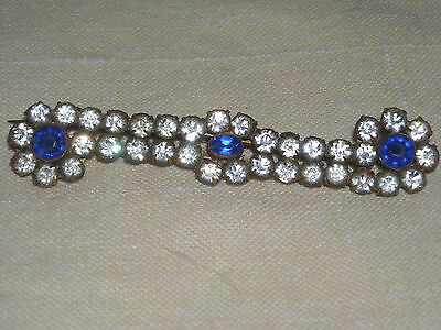 08 Vintage Old Gold Tone C Clasp Barette Blue and White Rhinestones brooch