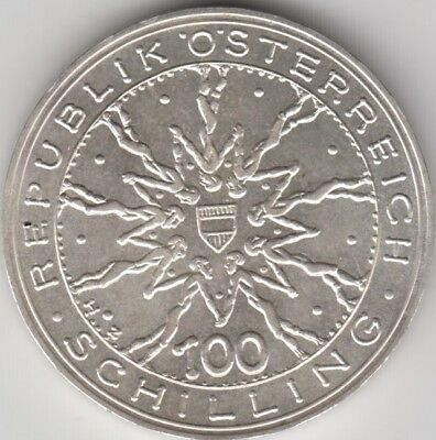 Coin 1978 Austria 100 shilling silver in extremely fine condition
