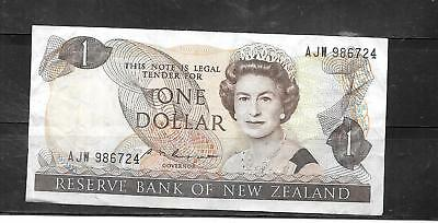 NEW ZEALAND #169b 1985 DOLLAR VF CIRC OLD BANKNOTE PAPER MONEY CURRENCY NOTE