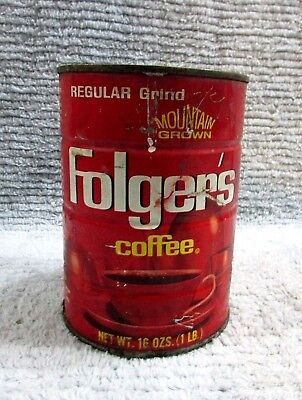 Old 1960s Empty Folgers 1 lb Regular Grind Coffee Mountain Grown Tin Can FREE SH