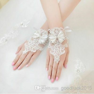 New white/Ivory Luxury Diamond Bow Lace Bridal Gloves Wedding Gloves Fingerless