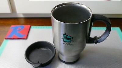 Caribou Coffee Old Logo 16 oz Stainless Steel Travel Cup Mug CLIP GRIP HANDLE