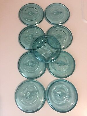 Antique/Vtg. BLUE Glass Canning Jar Lid (ONE) - LARGER at approx 3 1/2""