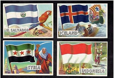 1956 Topps Flag of the World lot 4 cards condition vg and better nice look (a-a)