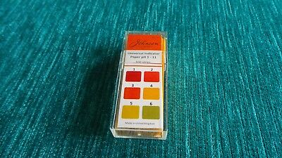 Johnsons Universal Test Papers pH1-11 acid alkali indicator strips  pack of 100