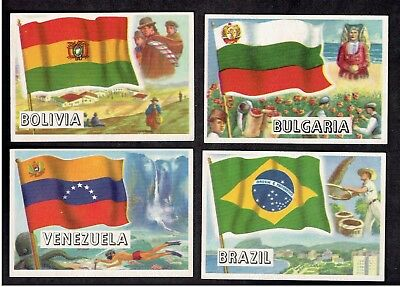 1956 Topps Flag of the World lot 4 cards condition vg and better nice look (b-b)