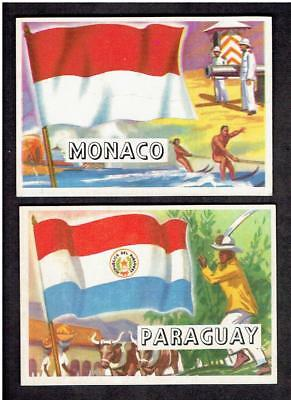 1956 Topps Flag of the World lot 2 cards condition vg and better nice look (c-c)
