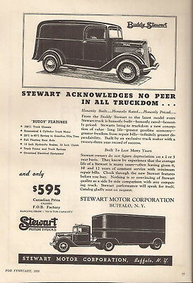 1936 Buddy Stewart & Stewart Motor Trucks Buffalo New-York Original Ad