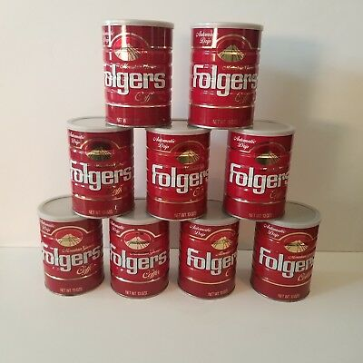 Lot Vintage Folgers Coffee Tin With Lid 1 Pound Mountain Grown Red Gold White