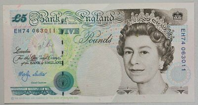 Bank of England Great Britain  5 Pounds 1990   Gem U