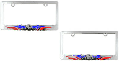2 Chrome Metal USA Eagle American Custom License Plate Tag Frames for Car-Truck