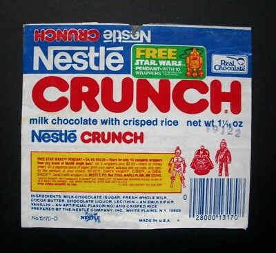 NESTLE STAR WARS PROMO CRUNCH - 1970's NESTLE U.S.A. Chocolate Candy Bar Wrapper