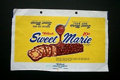 SWEET MARIE 10c - 1960's WILLARD'S CANADA Chocolate Candy Bar Wrapper
