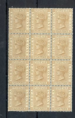Sierra Leone 1884 Sg# 33 -Block Of12-- Mnh Vf ** Rare In This Condition !!