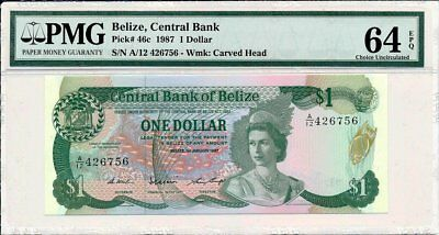 Central Bank Belize  $1 1987  PMG  64EPQ