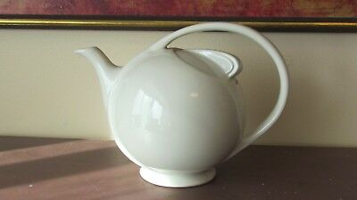 Signed Hall Art Deco White Airflow Teapot
