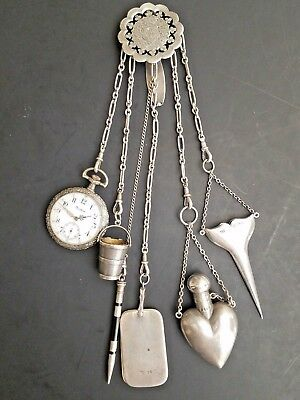 Rare Antique Victorian English Sterling Silver Chatelaine Chain 6 Pcs W Watch Nr