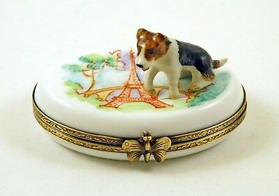 New French Limoges Trinket Box Cute Fox Terrier Dog Puppy In Paris