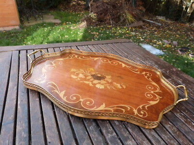 Vintage Italian Inlaid Sorrento Ware Wood & Gilt Metal Gallery Serving Tray.
