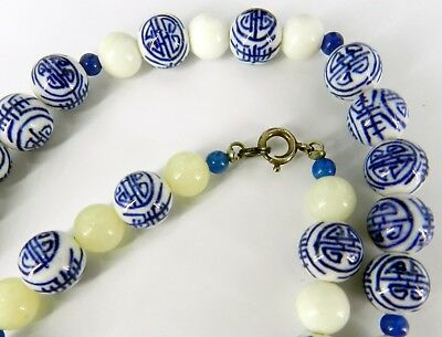 CHINESE BLUE & White HAND PAINTED PORCELAIN, JADE BEADS NECKLACE STERLING SILVER