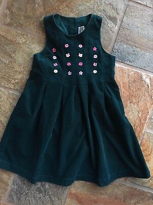 Vintage Laura Ashley Mother And Child Green/Floral Needlecord Dress Age 3 Years