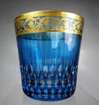 """ST. LOUIS THISTLE GOLD Kristall  Glas Whisky AQUAMARIN """"8,6cm""""  Whiskyglas"""