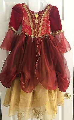 Disney Store Princess Belle Red Deluxe Holiday Gown Costume Sz.7/8